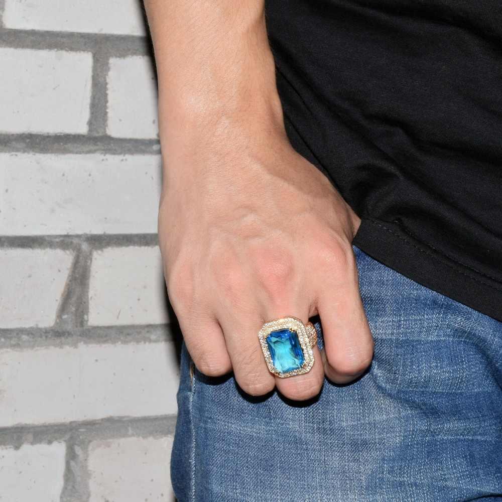 อัญมณีสีแดงเย็นผู้ชายแหวนทองแดง Charm Silver Silver Cubic Zircon Bling Bling แหวนแฟชั่นเครื่องประดับ Hip Hop
