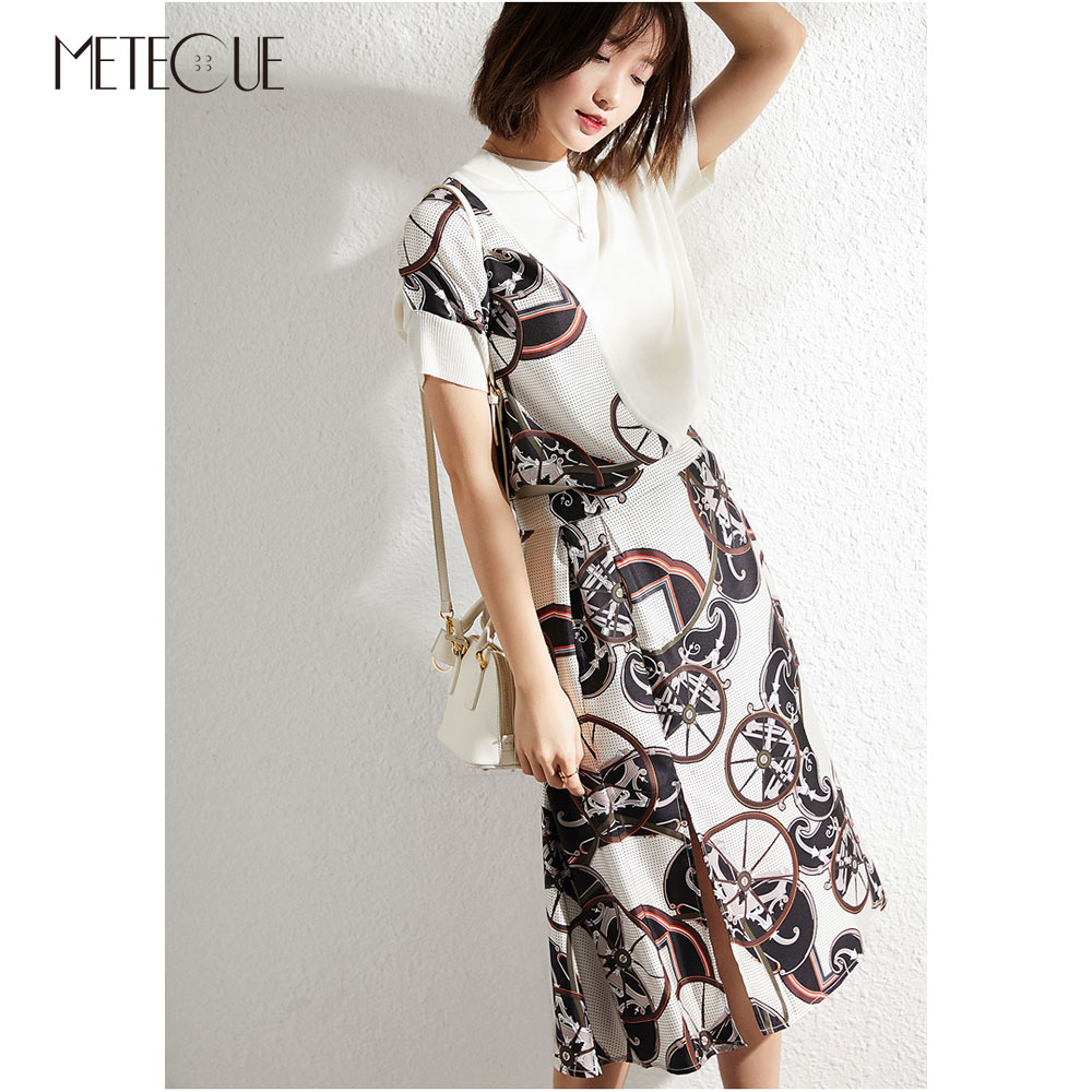 100 Silk Printed Midi Skirt with Split on Front 2019 Spring Summer Fashion High Waisted Skirt