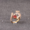 France Les Nereides Cute Leopard Gem Opening Ring For Women Noble Elegant Rings Brand Party Jewelry