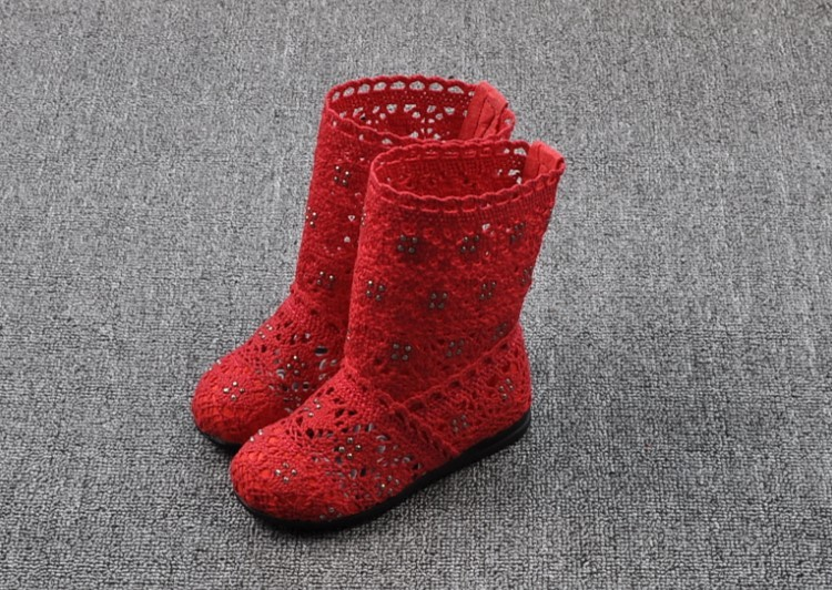 (A241)18 Classical Kids Shoes Summer Girls Boots Knitting Hollow Children Shoes Fashion Network Boots For Girls 16