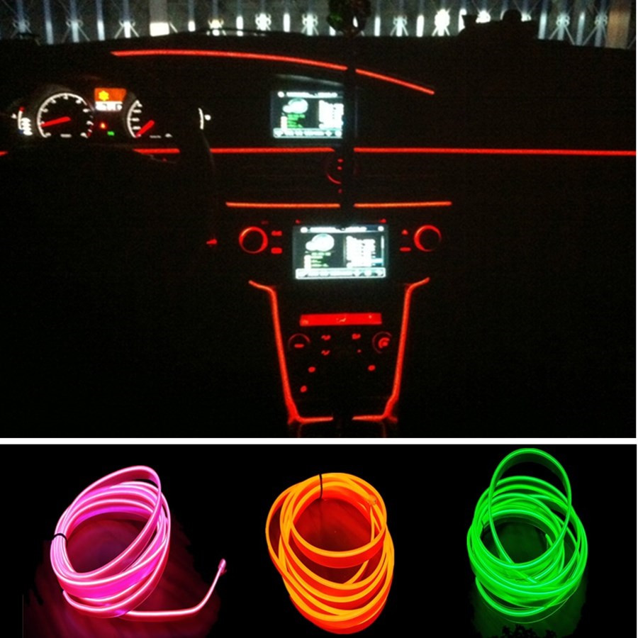 JingXiangFeng Universal 12 V 10 Colors 3 meter Car Styling Flexible Neon Light EL Wire Rope Car Decoration Strip with Controller jingxiangfeng 1 5 meter neon light car decoration light neon led lamp flexible el wire rope tube waterproof led strip with 12v