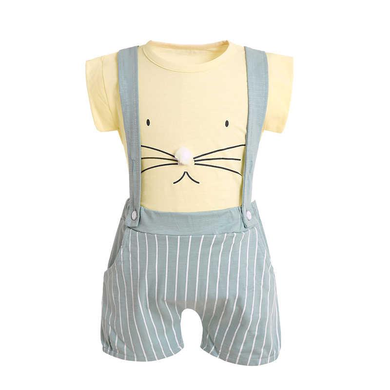 תינוק קיץ ארנב סטי ילדים ילד ילדה אימונית חולצה + מכנסיים ביריות מכנסיים 2 Pcs פעוטות אופנה כותנה בגדי חליפת 18 M-3 T