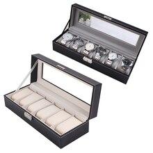 High Quality PU Leather 6 Grid Watch Display Case Box Holder Jewelry Storage Organizer