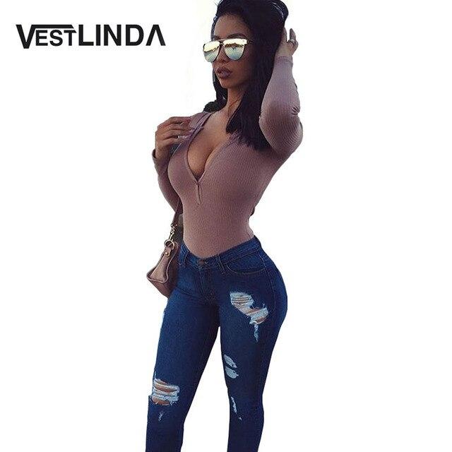 VESTLINDA Sexy Woman Skinny Romper V-Neck Long Sleeve Bodysuit Spring & Autumn Pure Color White  Black Splicing Women Jumpsuits