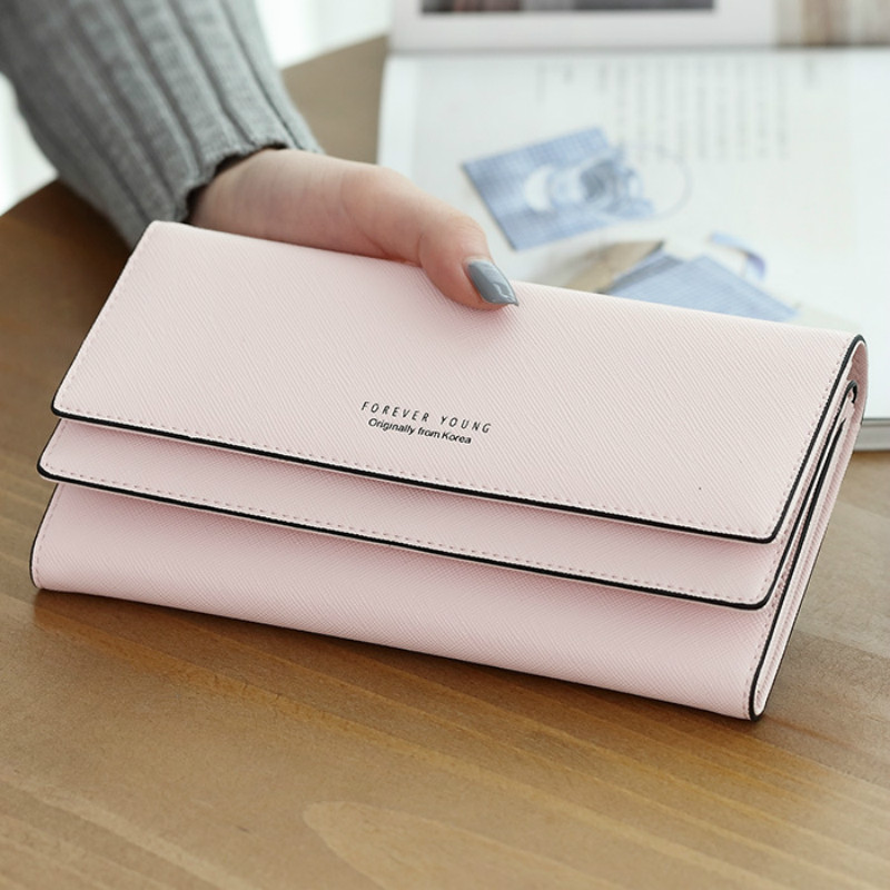 MONNET CAUTHY Wallet for Female Concise Leisure Sweet Fashion Korean Style Lady Candy Color Green Pink Black Grey Long Wallets monnet cauthy female bags concise leisure newest fashion travel girls style messenger bag solid color black white pink red flap