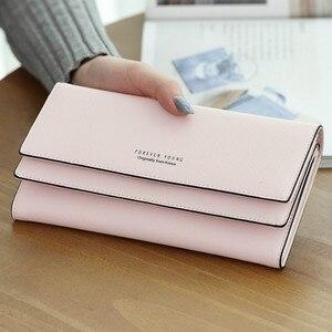 Image 1 - MONNET CAUTHY portefeuille pour femme concis loisirs doux mode Style coréen dame bonbon couleur vert rose noir gris longs portefeuilles