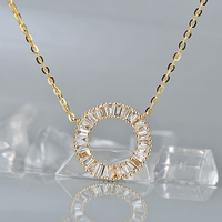 Caimao Jewelry 0.57ct Natural Baguette Diamond 14K Yellow Gold Pendant