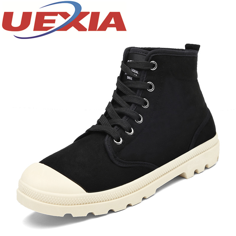 New Suede Leather Ankle Boots Men Casual Shoes Outdoor Fashion Winter Canvas High Tops Botas Hombre Mens Martin Boots Work Shoes men suede genuine leather boots men vintage ankle boot shoes lace up casual spring autumn mens shoes 2017 new fashion