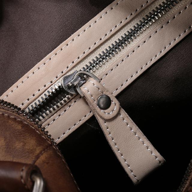 2017 Vintage Handmade Genuine Leather Top Handle Bag Cow Leather Shoulder Bag Rivets Messenger Bag Women Handbag