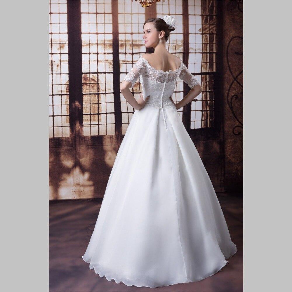 iLoveWedding A Line Wedding Dresses Formal Boat Neck Tulle Satin ...