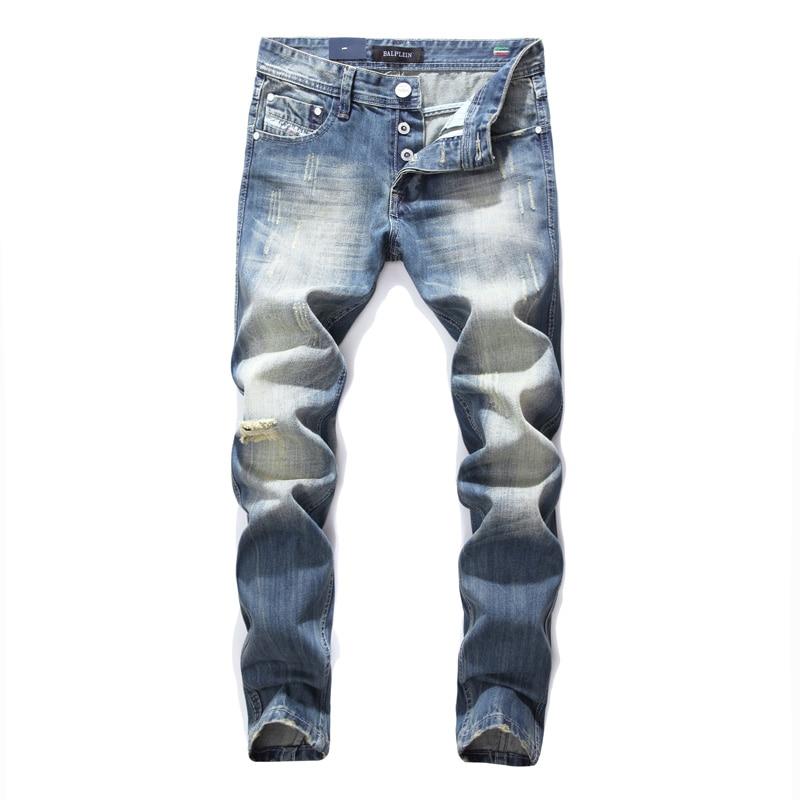 Italian Designer Fashion Men   Jeans   Blue Color Vintage Retro Wash Slim Fit Ripped   Jeans   Men Balplein Brand   Jeans   Men Cotton Pants