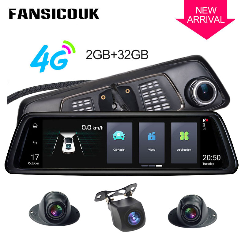 4G 4 Channel Android 2GB RAM <font><b>ADAS</b></font> <font><b>Car</b></font> <font><b>DVR</b></font> 10'' <font><b>Rearview</b></font> <font><b>mirror</b></font> <font><b>Camera</b></font> GPS 1080P Video Recorder Dash Cam With special bracket V9 image
