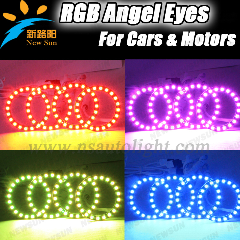 Full circle 72MM RGB led angel eyes ring color changing led angel eyes super bright halo ring headlights for cars other voices full circle cd