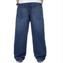 Новые модные мешковатые мужские джинсы темно-синего цвета в стиле хип-хоп, свободные мужские джинсы для скейтборда, большие размеры 30-46, панталоны, брюки