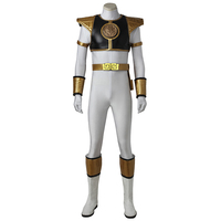Costume For Zyuranger White Ranger Tommy Oliver Cosplay Costume Outfit Superhero Halloween Mighty Morphin Suit Men Custom Made