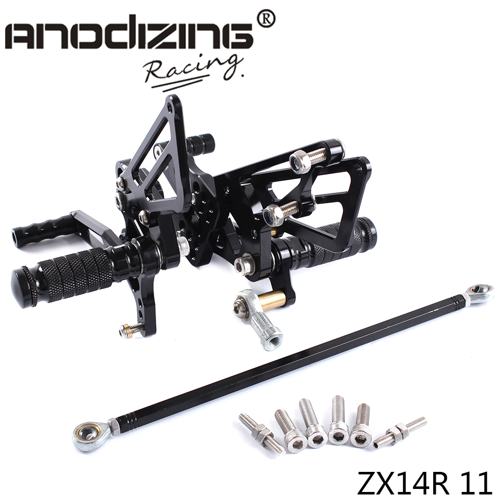 ФОТО Full CNC aluminum Motorcycle Rearsets Rear Set For KAWASAKI ZX14R ZX-14R ZZR1400 2011