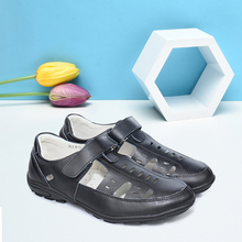2019 New Genuine Leather Sandals for Boys Small Hole Children Sandals Flat Heel Anti-Slip Black