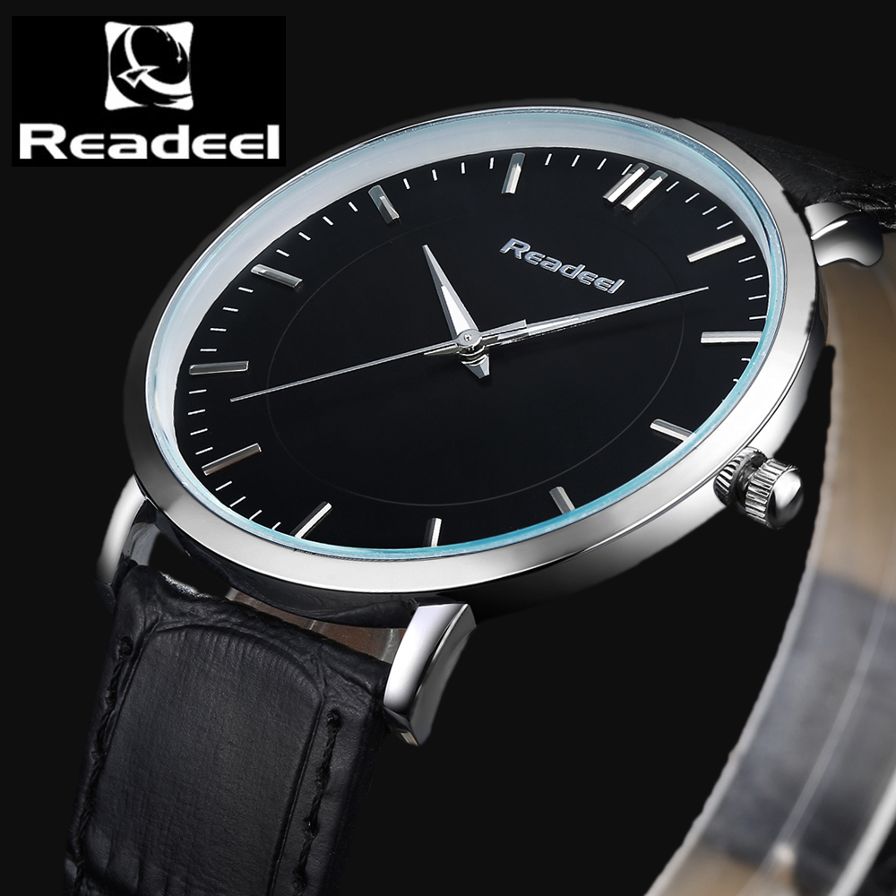 Readeel Brand Fashion Casual Watches Men Waterproof Quartz Watch Men Clock Man Leather ultra thin Army Military Wristwatches