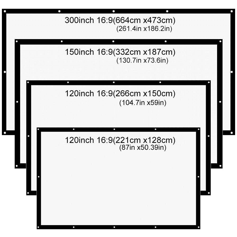 AAO 16:9 Projector Screen 180 200 250 300 inch HD Matt White Anti-crease Projection Screen Wall mounted Home Theater Big Canvas