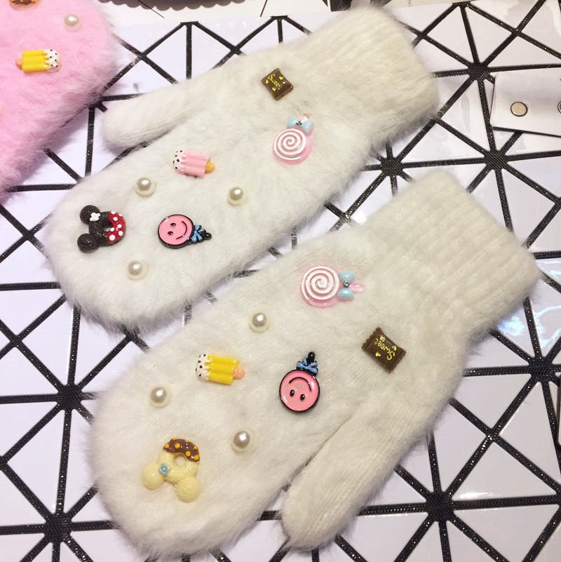 womens Winter cute candy ice cream stick long hair female double Mittens fingerless <font><b>gloves</b></font>