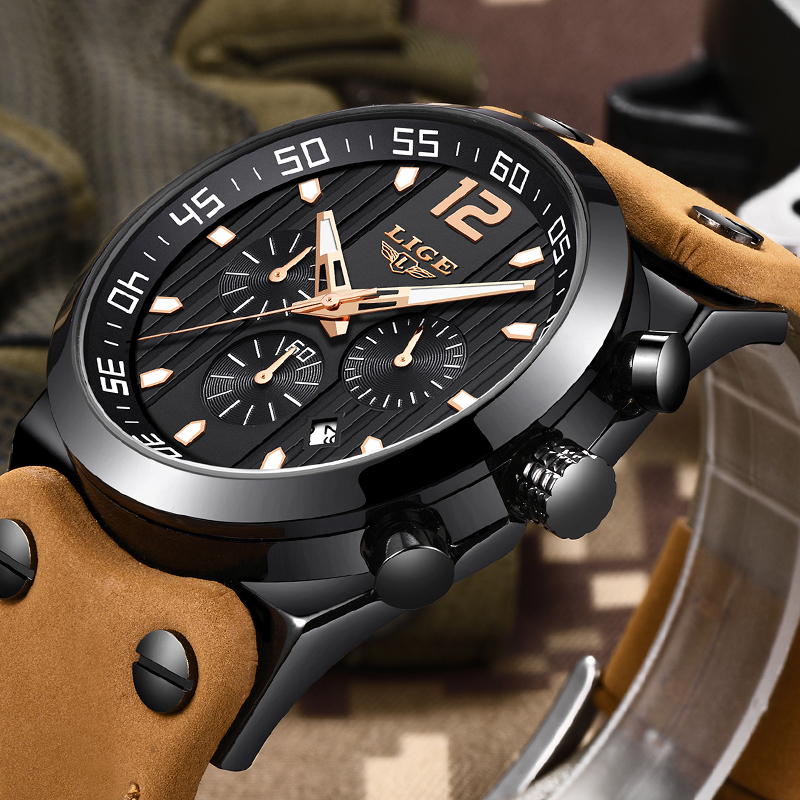 LIGE Mens Watches Top Brand Luxury Military Sport Watch Men Leather Waterproof Quartz Wrist Watch Male clock Relogio Masculino relojes lige mens watches brand luxury men military sport luminous wristwatch male leather quartz watch clock relogio masculino