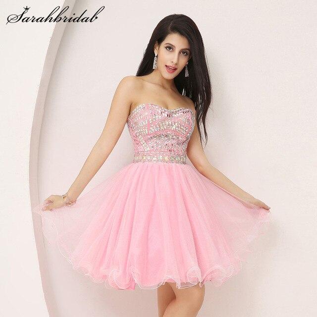 Dulce corto Homecoming vestidos Mini Pink Tulle volver Zip lujo ...