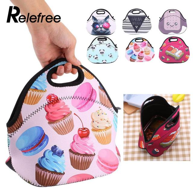 Thermal Insulated Lunch Bag Floral Neoprene Picnic Office Supplies Fashionable