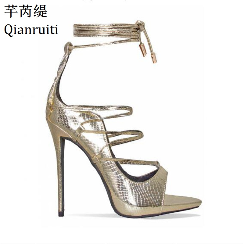 Qianruiti Gold Faux Snake Leather High Heels Shoes Women Cut Outs Platform Gladiator  Sandals Rome Style Lace Up Women Pumps-in Women s Pumps from Shoes on ... 28c520be7f9c