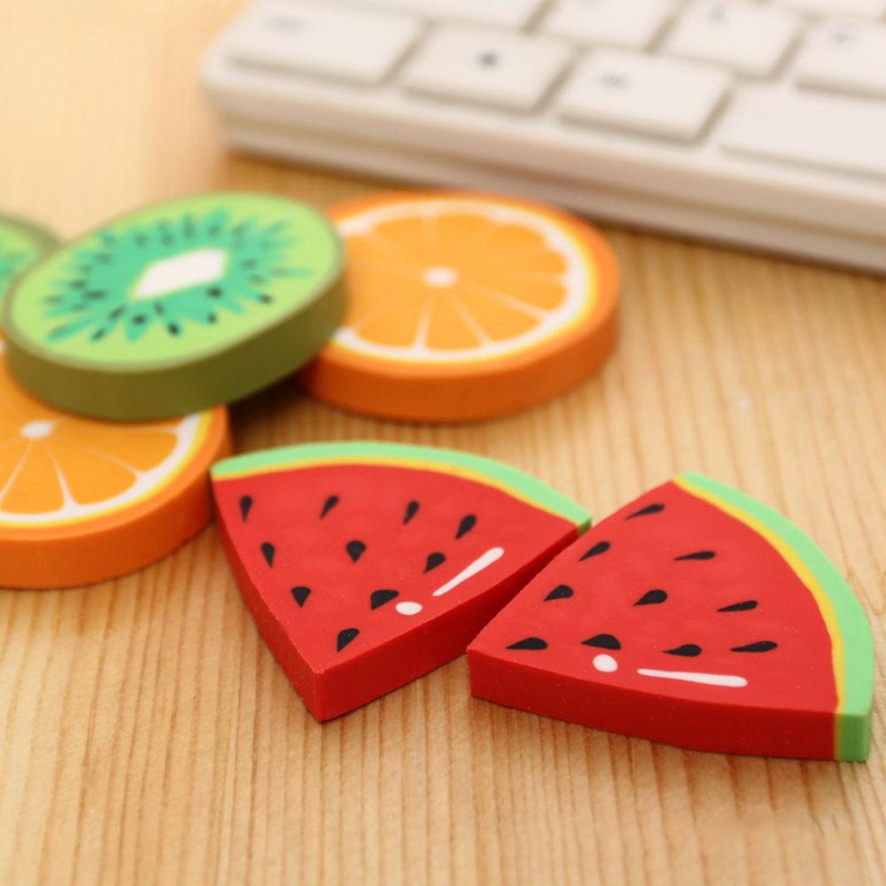 2 X Cute Fruit Eraser Kids School Supplies Rubber Watermelon Oranges Kiwi Rubbers