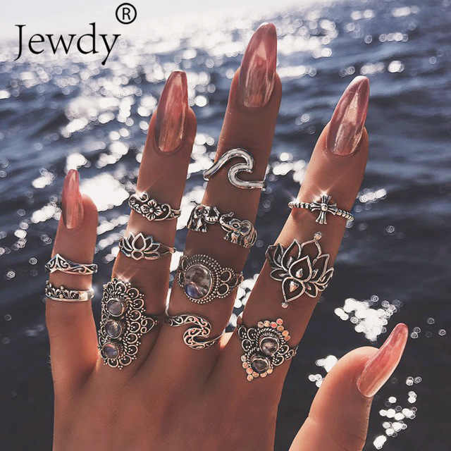 50 Styles Boho Punk Women Hollow Triangle Water Drop Arrow Sun Gem Crystal Silver Rings Set Personality Girl Jewelry Accessories