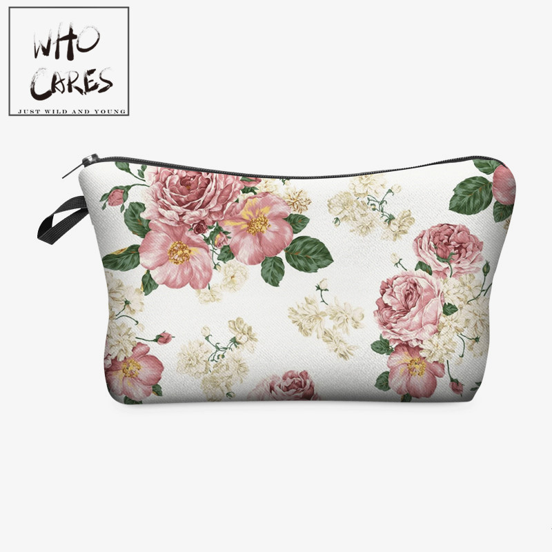 Who Cares Pink Roses 3D Printing Fashion Makeup Bags Cosmetics Pouchs For Travel Ladies Pouch Women Cosmetic Bag
