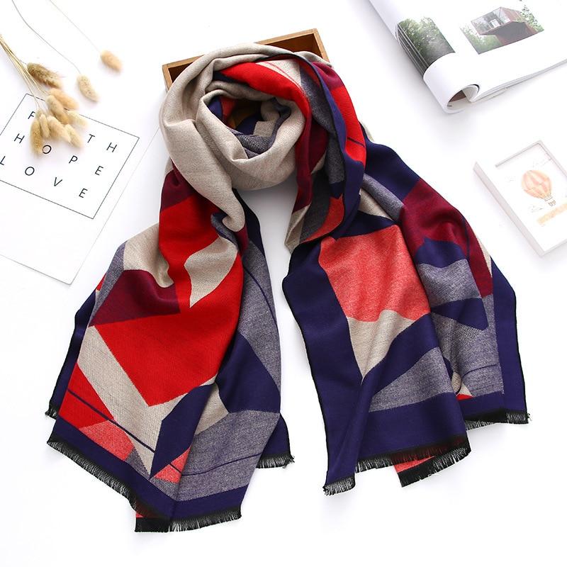 2017 de espesor de lujo marca mujeres bufandas chales de invierno bufanda de Cachemira bufanda femenina doble cara pashmina Echarpe hiver Femme Bandana