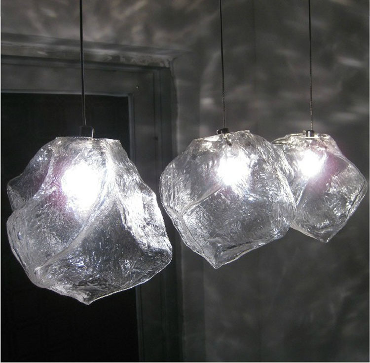 Italienische Mode Beleuchtung Design Eis Stein Kreative 1 Licht Glas Kronleuchter Restaurant Cafe Wohnzimmer Lampen