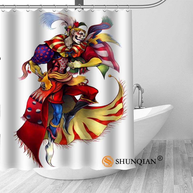 Clown Bath Curtain 100% polyester Fabric Shower Curtain bathroom beautiful Bath decor Print your picture