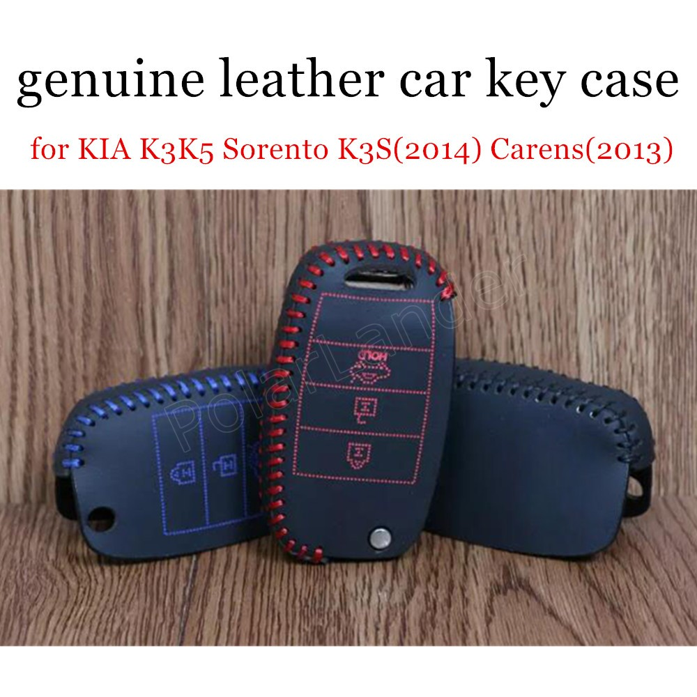 Only Red new coming Hand sewing <font><b>car</b></font> key case <font><b>cover</b></font> Genuine quality leather fit <font><b>for</b></font> <font><b>KIA</b></font> K3K5 <font><b>Sorento</b></font> K3S(2014) Carens(<font><b>2013</b></font>) image