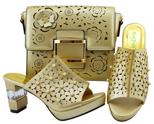 Image 5 - Zapato italiano y bolsa Conjunto de zapatos y bolsos africanos de tacón alto, zapato con bolsa italiana, superventas, a juego, YM007