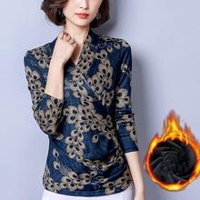 Женские блузки с v-образным вырезом, с длинным рукавом, с принтом,, винтажные, зимние, теплые, блузки, рубашки, женские, плюс размер, топы, плюс бархат, Blusas Femme