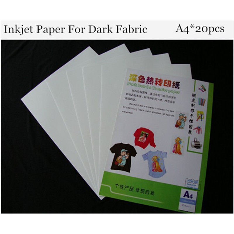(A4*20pcs) Iron On Inkjet Heat Transfer Paper For T Shirt Dark Color Thermal Transfer Papel For Dark/Light Fabrics HTW-300