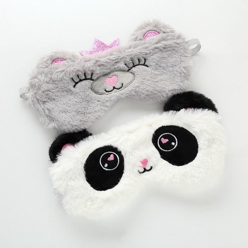 Panda Eye Mask Plush Animal Cat Stuffed Eye Mask Kawaii Cute Plush Eye Mask Girl Toy Suitable For Travel Home Party Plush Animal