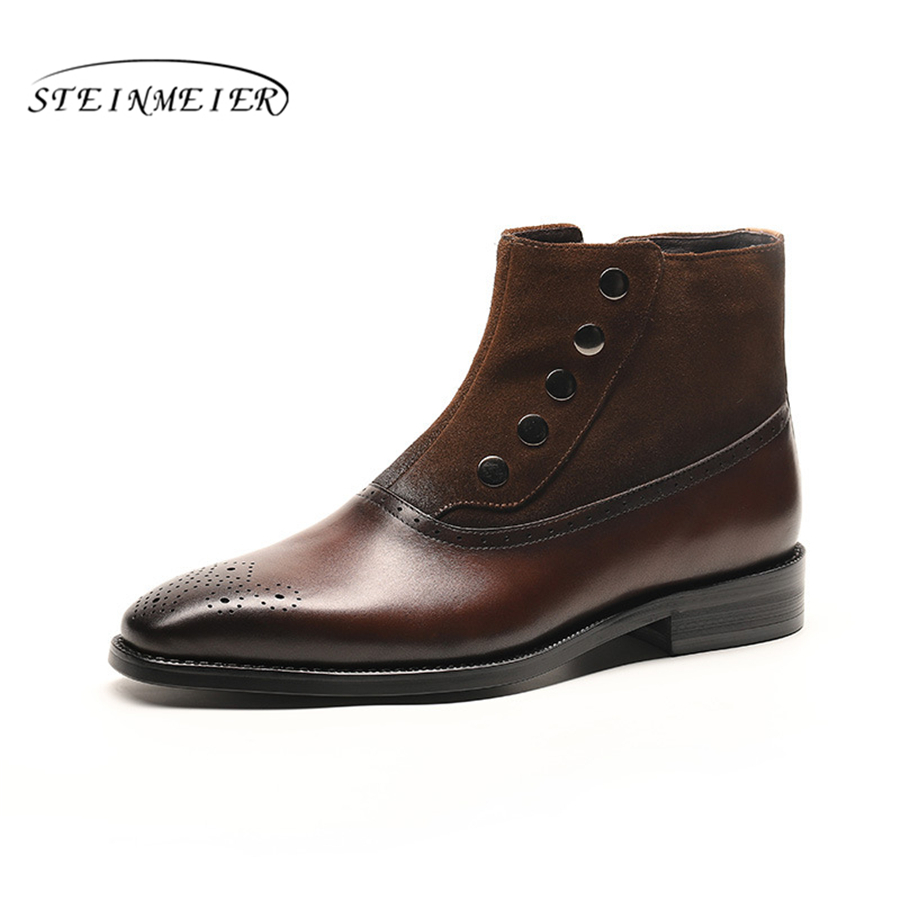 Men winter Boots Genuine cow leather chelsea boots brogue casual ankle flat shoes Comfortable quality soft handmade brown black new fashion men shoes comfortable pointed toe genuine leather for men chelsea boots brogue anti skid business shoes black brown