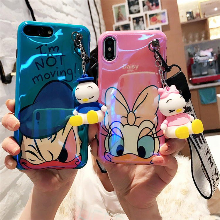 For iPhone 8 8plus Daisy Donald Duck case, Cute Cartoon Soft case For iPhone X 7 7plus 6 6S 6Pplus phone cover+toy stander+Strap