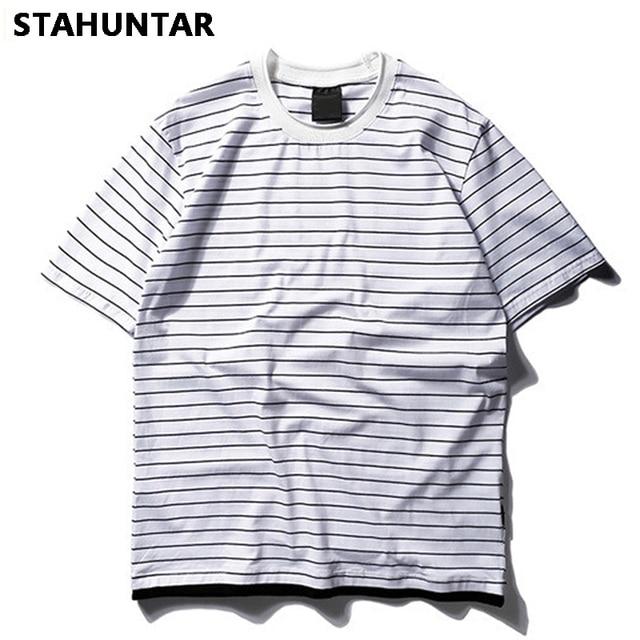 78384f33d72 Summer Spring Solid Stripe Men T Shirt Fashion Short Black White Lovers T  Shirt Men Cotton O-Neck Casual T-shirt Creative Funny