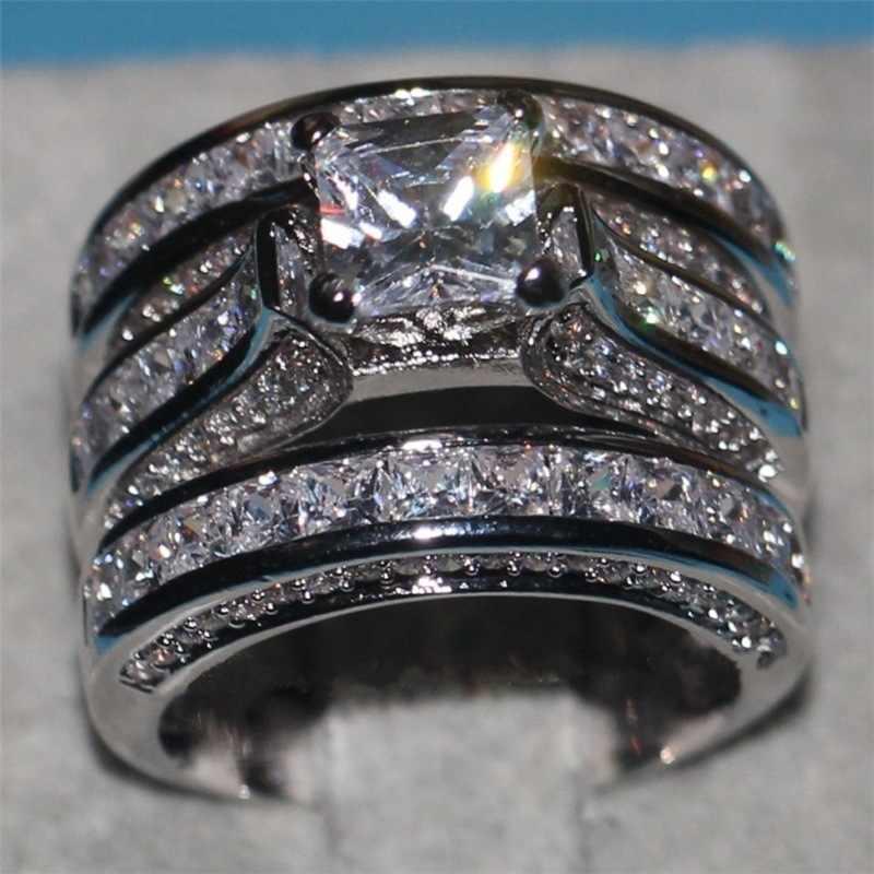 Dễ thương Nữ Big Zircon Vòng Set Pha Lê 925 Bạc Vàng Vàng Bridal Nhẫn Cưới Trang Sức Hứa Đính Hôn Nhẫn Đối Với Phụ Nữ