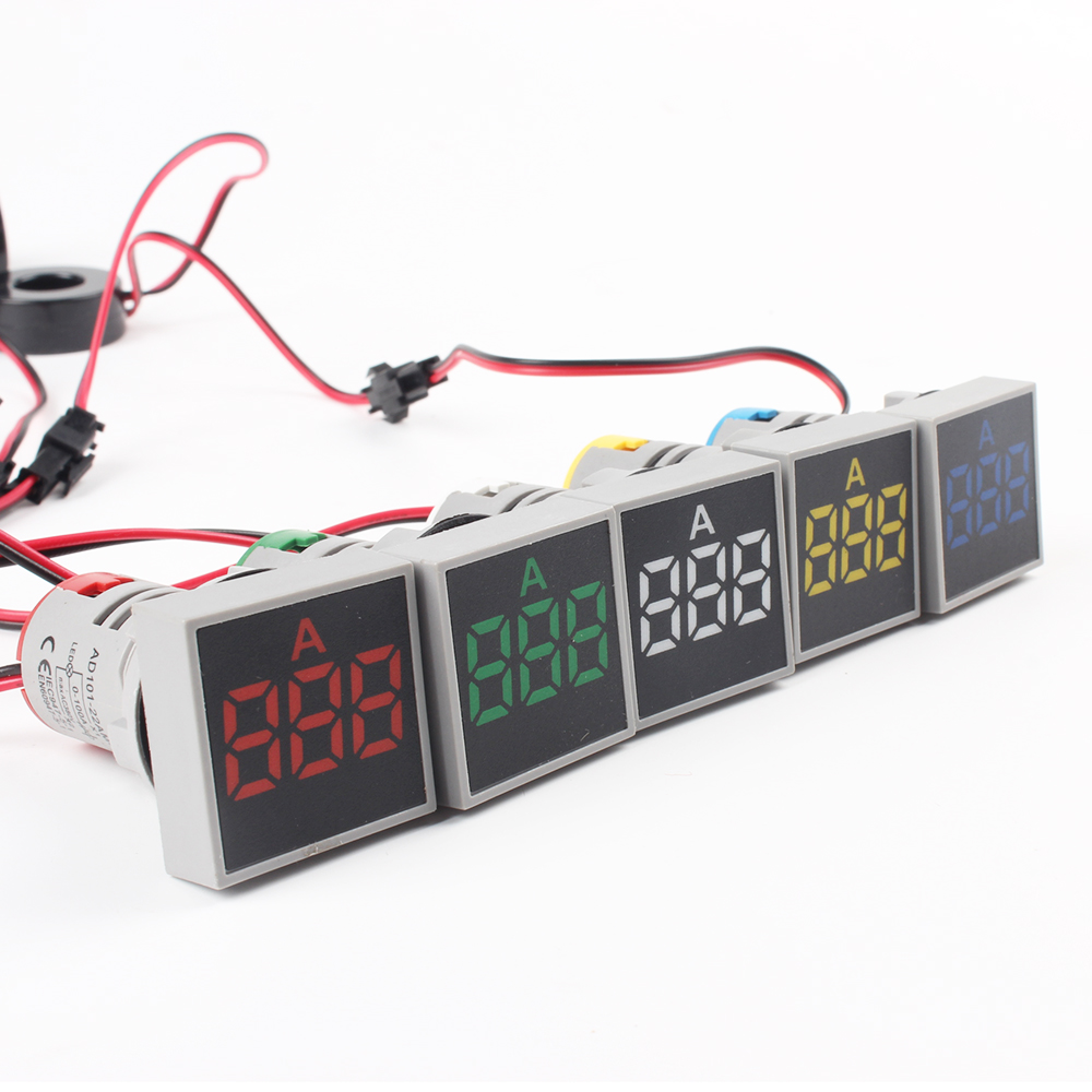 22mm AC 20V-500V 0-100A LED Voltmeter Voltage Meter Indicator Pilot Light Red Yellow Green White Blue Digital Ammeter