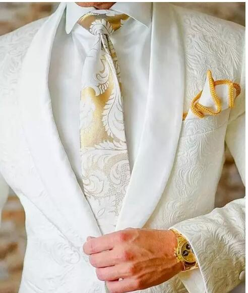 Classic Design White Paisley Groom Tuxedos Groomsmen One Button Shawl Lapel Best Man Suit Wedding Mens Blazer Suits (Jacket+Pan