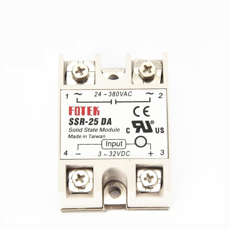 10pcs solid state relay SSR 25DA 25A actually 3 32V DC TO 24 380V AC SSR
