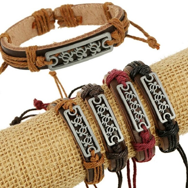 Hot Fashion Hollow Hawaii Turtle S Charm Memorial Wristbands Leather Bracelets Free Shipping