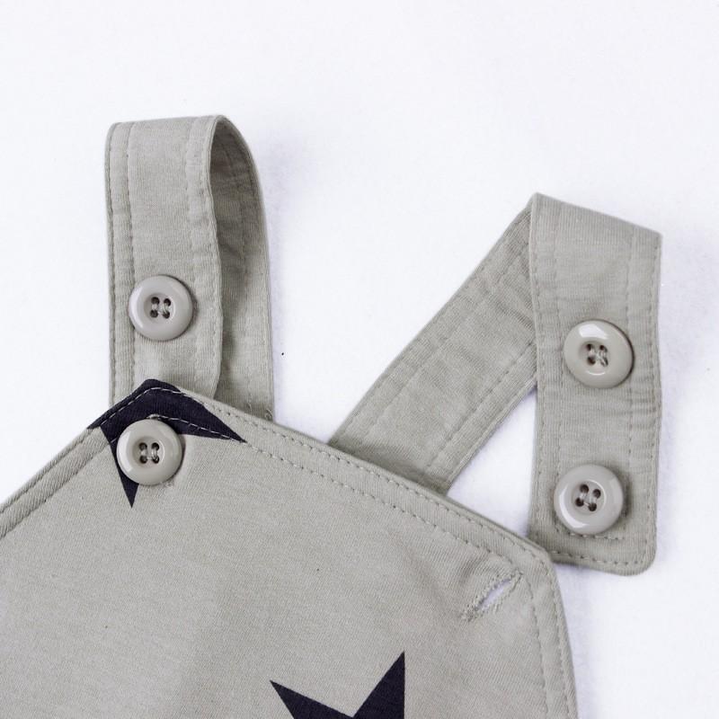 Baby Boys Baby Girls clothing set Newborn baby black grey striated T-shirt+ bib pants + hat stars pattern costumes suits (6)