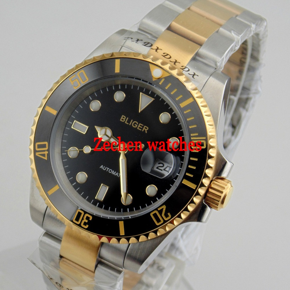 8d4a50765fd4 Bliger 40mm Ceramic Bezel Luminous Sapphire Automatic Steel Bands Men Watch