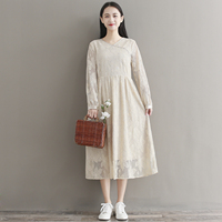 Mori Girl Lace Dress 2018 Spring New Women Sweet Lovely Lolita V Neck Crochet Hollow Out